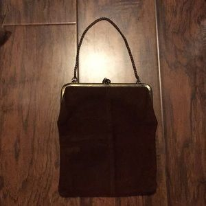 Vintage dark brown suede purse